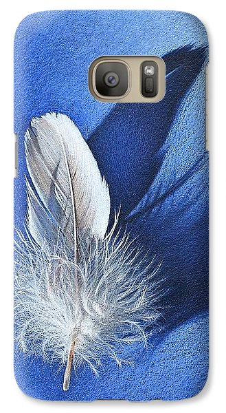 Galaxy Case featuring the drawing White On Blue by Elena Kolotusha