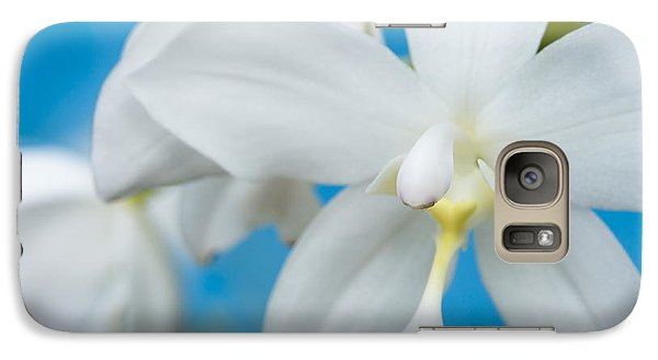 Galaxy Case featuring the photograph White Orchid by Leigh Anne Meeks