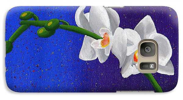 Galaxy Case featuring the painting White Orchids by Laura Forde