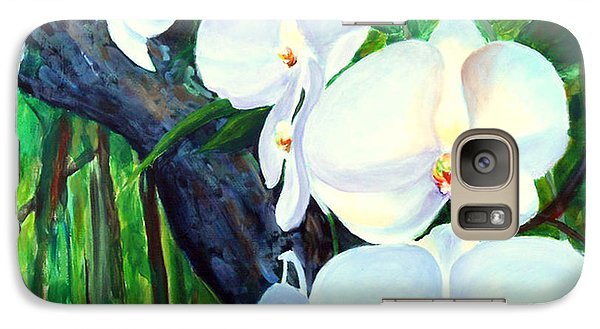 Galaxy Case featuring the painting White Orchid's by Nancy Czejkowski