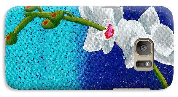 Galaxy Case featuring the painting White Orchids On Blue by Laura Forde