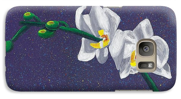 Galaxy Case featuring the painting White Orchids On Dark Blue by Laura Forde