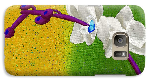 Galaxy Case featuring the painting White Orchids On Yellow And Green by Laura Forde
