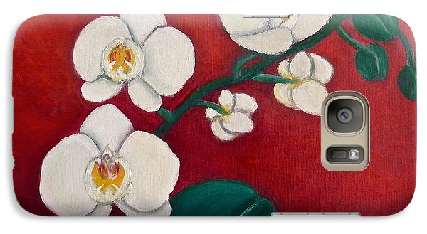 Galaxy Case featuring the painting White Orchids by Victoria Lakes