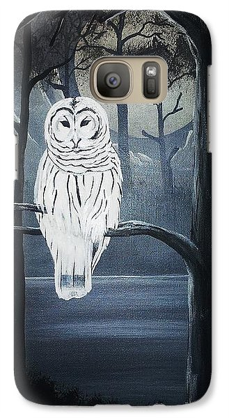 Galaxy Case featuring the painting White Owl  by Edwin Alverio