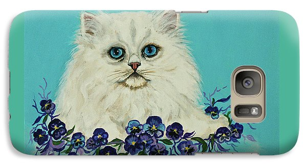 Galaxy Case featuring the painting White Persian In Pansy Patch Original Forsale by Bob and Nadine Johnston