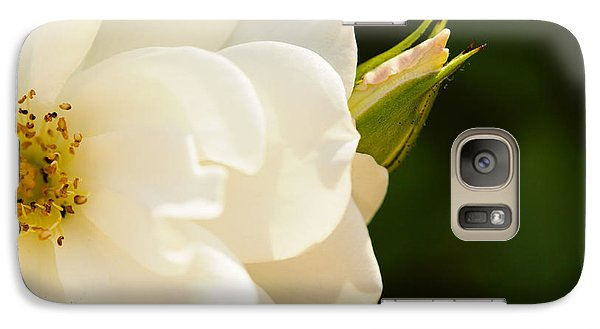 Galaxy Case featuring the photograph White Rose And A Bud by MaryJane Armstrong