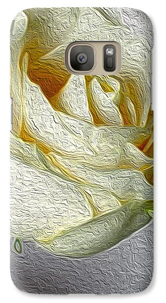 Galaxy Case featuring the photograph White Rose In Oil Effect by Nina Silver