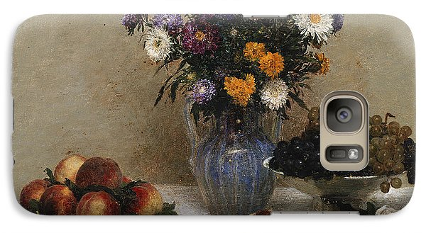 White Roses And Chrysanthemums Galaxy S7 Case by Ignace Henri Jean Fantin-Latour