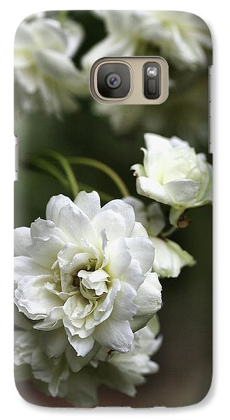 Galaxy Case featuring the photograph White Roses by Joy Watson