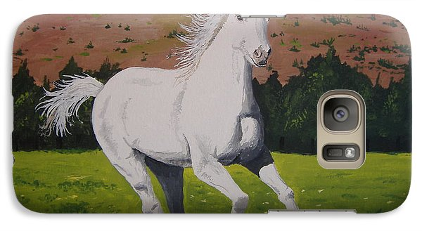 Galaxy Case featuring the painting White Stallion by Norm Starks