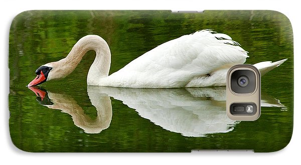 Galaxy Case featuring the photograph Graceful White Swan Heart  by Jerry Cowart