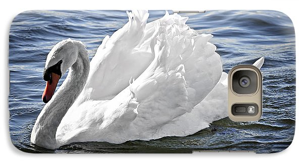 White Swan On Water Galaxy Case by Elena Elisseeva