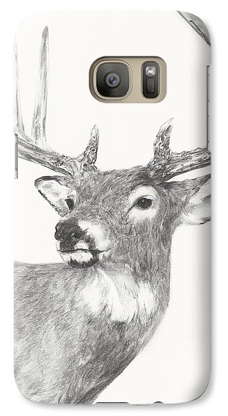 Galaxy Case featuring the drawing White Tailed Buck Study by Meagan  Visser