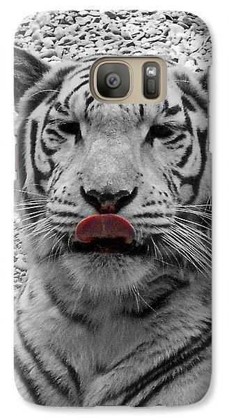 Galaxy Case featuring the photograph White Tiger Lick by Suzy Piatt