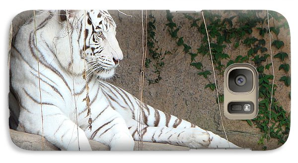 Galaxy Case featuring the photograph White Tiger Resting by Phyllis Beiser