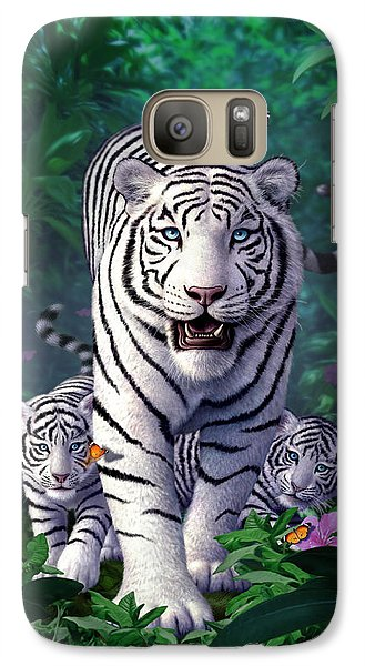 White Tigers Galaxy S7 Case by Jerry LoFaro