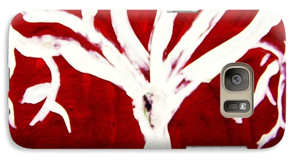Galaxy Case featuring the painting White Tree On Red by Mary Carol Williams