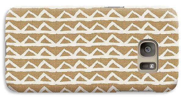 White Triangles On Burlap Galaxy S7 Case by Linda Woods