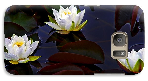Galaxy Case featuring the photograph White Water Lilies by Nina Ficur Feenan