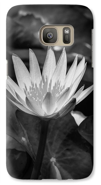 Galaxy Case featuring the photograph White Water Lily 001 Bw by Lance Vaughn
