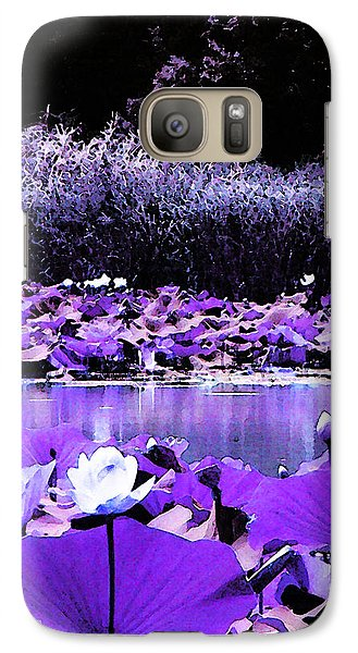Galaxy Case featuring the photograph White Water Lotus In Violet by Shawna Rowe