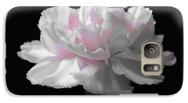 Galaxy Case featuring the digital art White With Pink Carnation by Jeannie Rhode