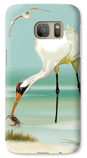 Galaxy Case featuring the painting Whooping Crane In Color by Anne Beverley-Stamps