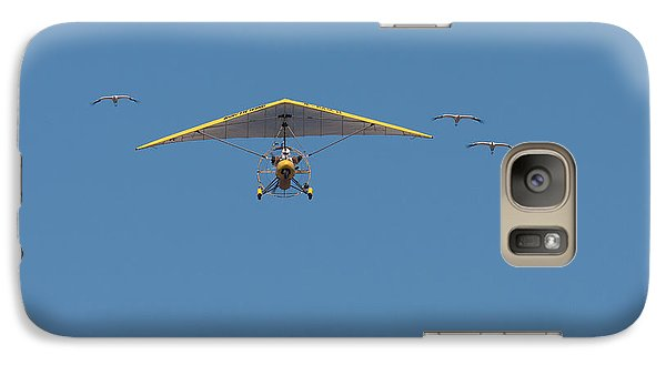 Galaxy Case featuring the photograph Whooping Cranes And Operation Migration Ultralight by Paul Rebmann