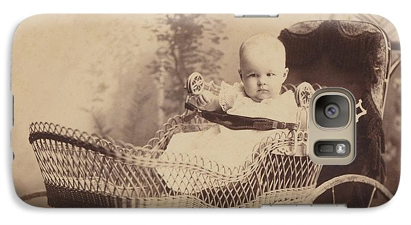 Galaxy Case featuring the photograph Wicker Baby Pram by Paul Ashby Antique Image