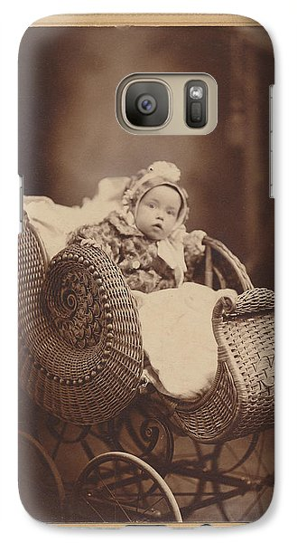 Galaxy Case featuring the photograph Wicker Pram by Paul Ashby Antique Image