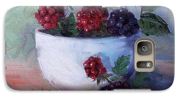 Galaxy Case featuring the painting Wild Blackberries by Cheri Wollenberg