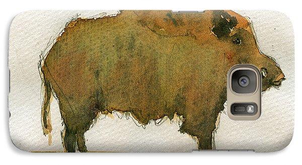 Pig Galaxy S7 Case - Wild Boar by Juan  Bosco