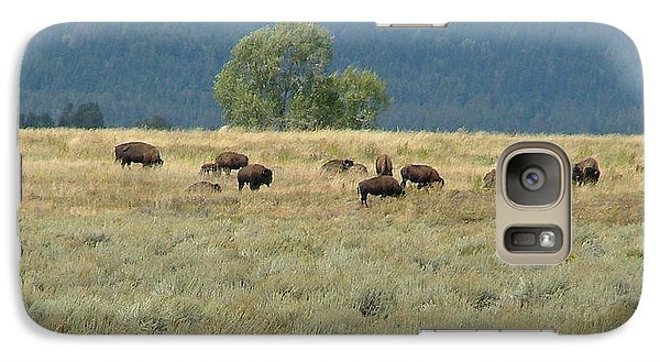 Galaxy Case featuring the painting Wild Buffalo In The Grand Tetons by Jennifer Muller