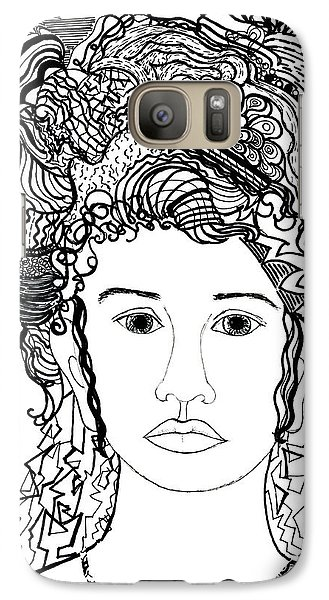 Galaxy Case featuring the drawing Wild Hair Portrait In Shapes And Lines by Lenora  De Lude