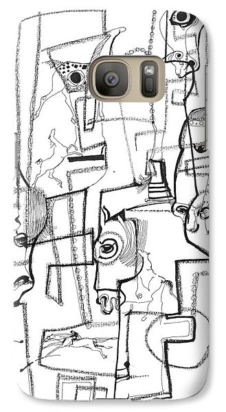 Galaxy Case featuring the drawing Wild Horse Day  by Mary Armstrong