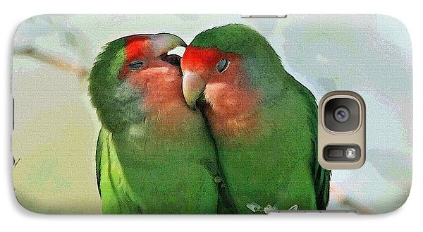 Galaxy Case featuring the photograph Wild Peach Face Love Bird Whispers by Tom Janca