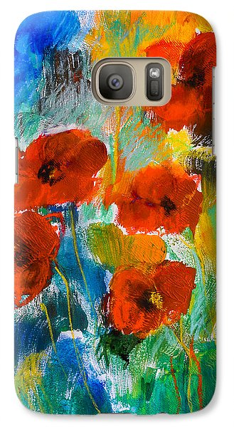 Galaxy Case featuring the painting Wild Poppies by Elise Palmigiani