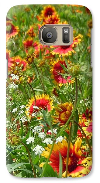 Galaxy Case featuring the photograph Wild Red Daisies #2 by Robert ONeil