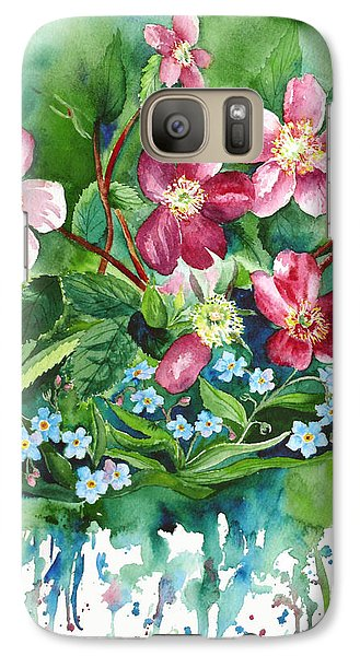 Galaxy Case featuring the painting Wild Roses And Forget Me Nots by Karen Mattson