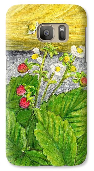 Galaxy Case featuring the painting Wild Strawberries In Summer by Jingfen Hwu