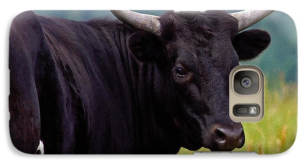 Galaxy Case featuring the painting Wild Type Colored Heifer Longhorn Cow by Karon Melillo DeVega