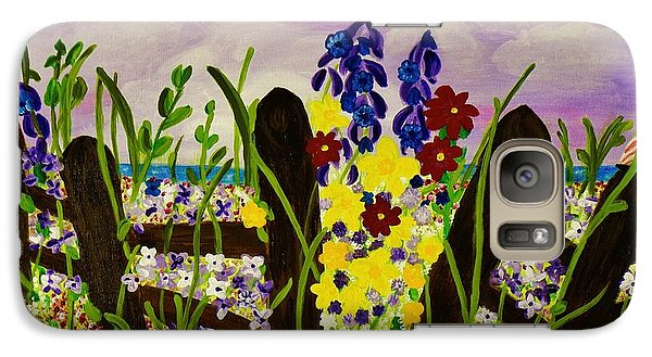Galaxy Case featuring the painting Wildflowers By The Sea by Celeste Manning