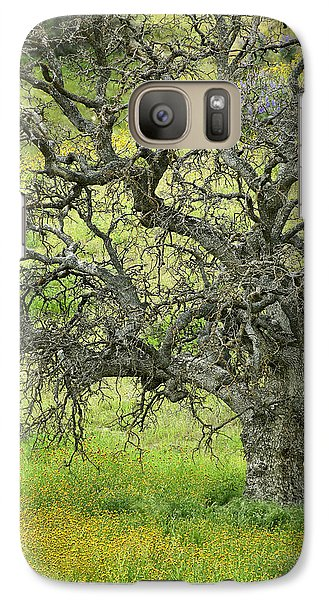 Galaxy Case featuring the photograph Wildflowers Under Oak Tree - Spring In Central California by Ram Vasudev