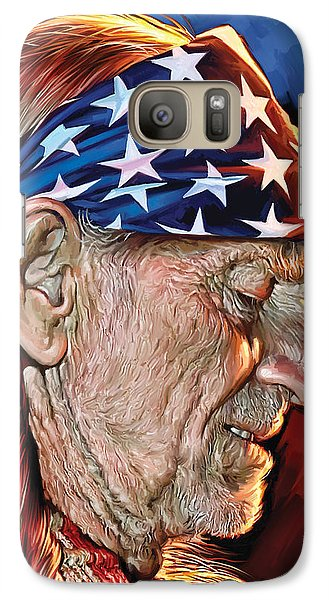 Galaxy Case featuring the painting Willie Nelson Artwork by Sheraz A