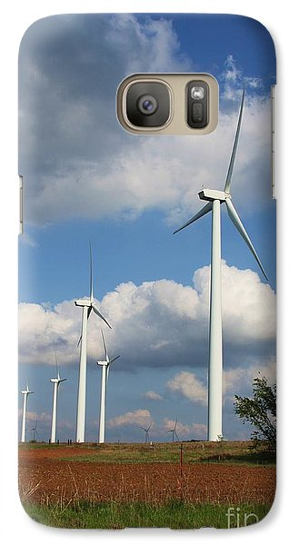 Galaxy Case featuring the photograph Wind Farm And Red Dirt by Jim McCain