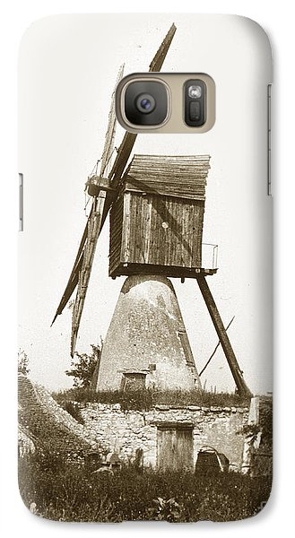 Galaxy Case featuring the photograph Wind Mill In France 1900 Historical Photo by California Views Mr Pat Hathaway Archives