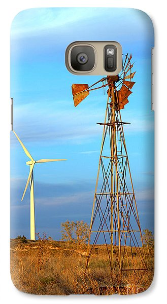 Galaxy Case featuring the photograph Wind Power  Then And Now by Jim McCain