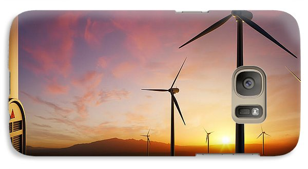 Rural Scenes Galaxy S7 Case - Wind Turbines At Sunset by Johan Swanepoel