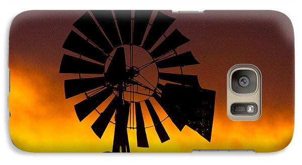 Galaxy Case featuring the photograph Windmill Ablaze by Shirley Heier